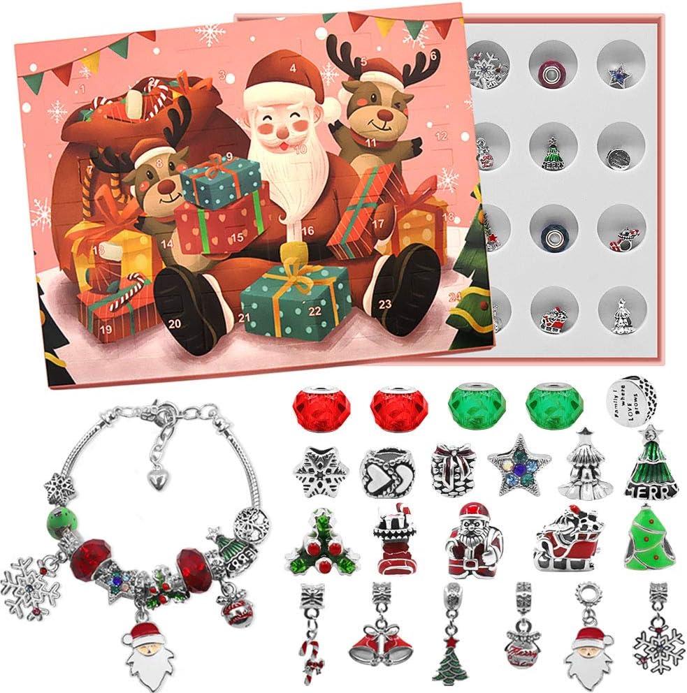 Advent Calendar 2020 Christmas Countdown Calendar - Christmas Themed DIY Charm Bracelet Making Kit for Girls, Jewelry Gift Set Including 22 Charms Beads, 2 Bracelets, Pink