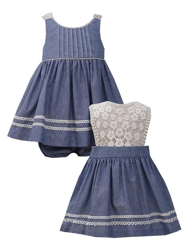 Bonnie Baby by Bonnie Jean Baby Girls Denim and Cream Lace Eyelet Dress (3/6M)