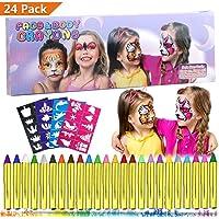 Trucchi per Truccabimbi,Emooqi 24 Colori Fviso Body Paint Pittura con 4 Stencil Face Paint per Bambini, Ideale per Carnevale, Pasqua, Cosplay, Feste a Tema - Sicuro e Non Tossico (24 Colori)