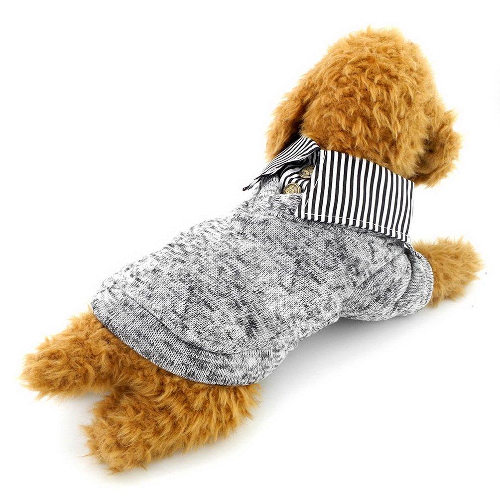 SELMAI Maglia in pile per cani Maglia calda morbida per maglieria classica Maglieria per cani di piccola taglia Gatti Maglia invernale in maglia con colletto per camicia Chihuahua Yorkie Blu Taglia M