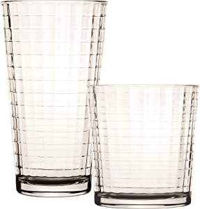 Circleware Huge 16-Piece Matrix Glassware Set of Highball Tumbler Drinking Glasses and Whiskey Cups, Home & Kitchen for Water, Beer, Juice, Ice Tea Bar Beverage, 8-15.75 oz & 8-12.5 oz, Clear