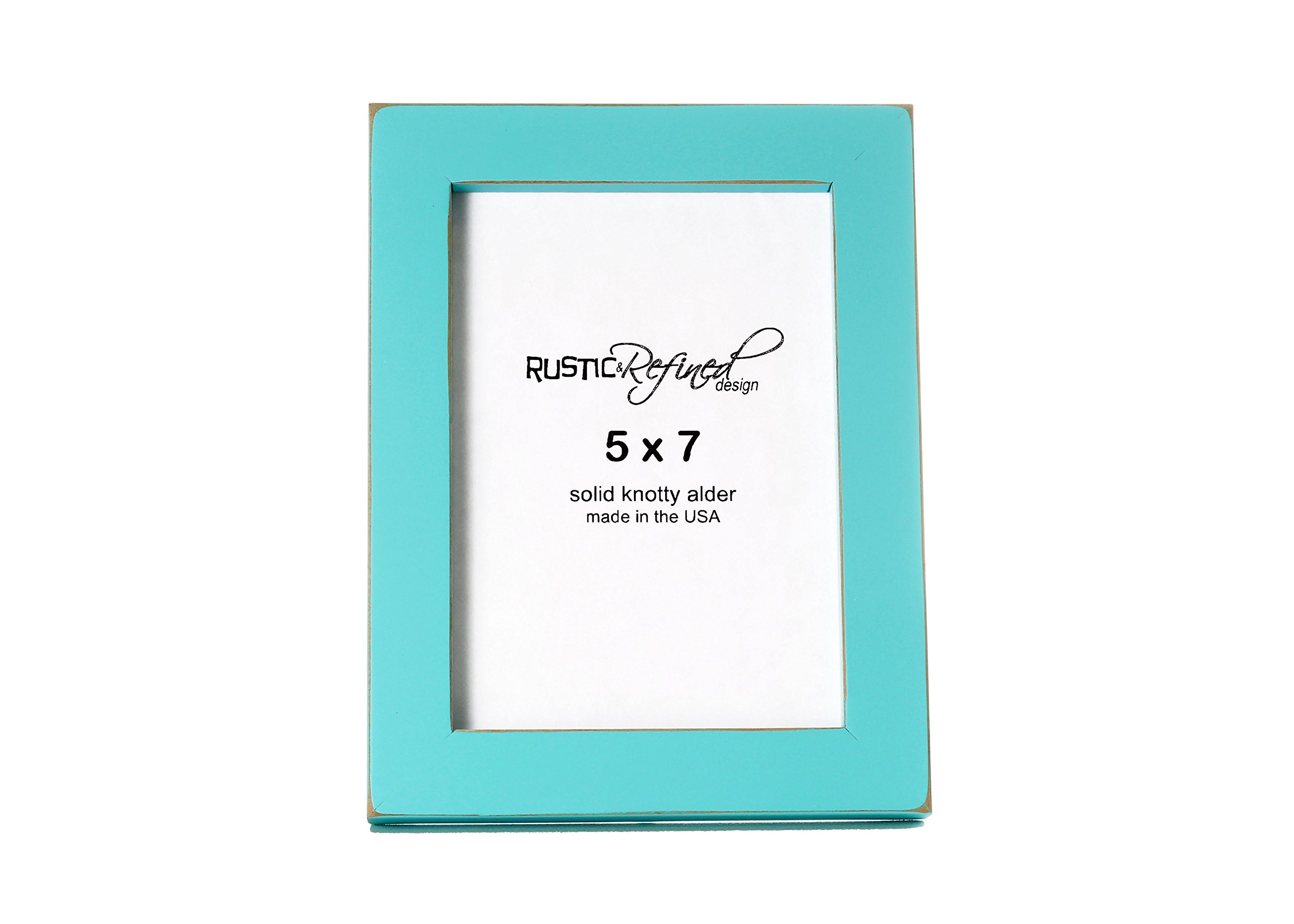 5x7 Solid Wood Made in USA Picture Frame with 1 Inch Border (Gallery Collection) - Turquoise
