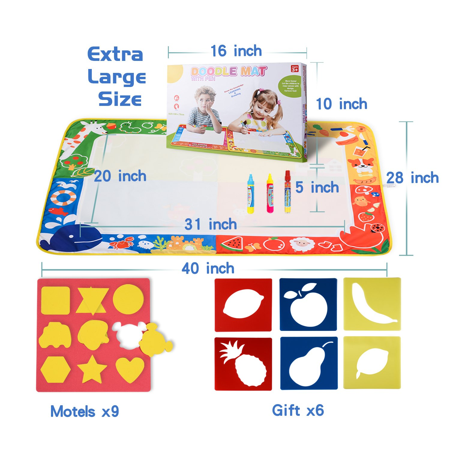 citymama Drawing Mat Doodle Magic mat water Drawing & writing Mat painting board 4 Colors with 3 Magic Drawing Pens and 15 Molds Kids Educational Toy Mat Gift for Children XL Size 40'' x 28'' by citymama (Image #6)