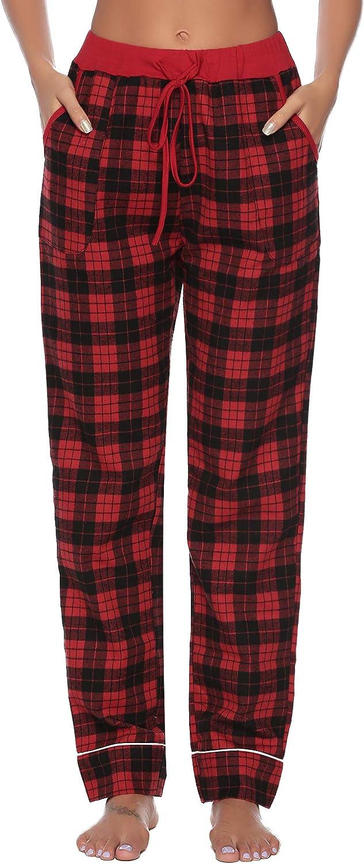 iClosam Pantalones de Pijama Largos Mujer Algodon Enrejado Pantalones Casual Suave y Comodo para Oto/ño e Invierno