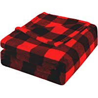 Bobor Buffalo Plaid Throw Blanket for Couch Bed, Flannel Fleece Red Black Checker Plaid Decorative Throw, Fuzzy, Fluffy…