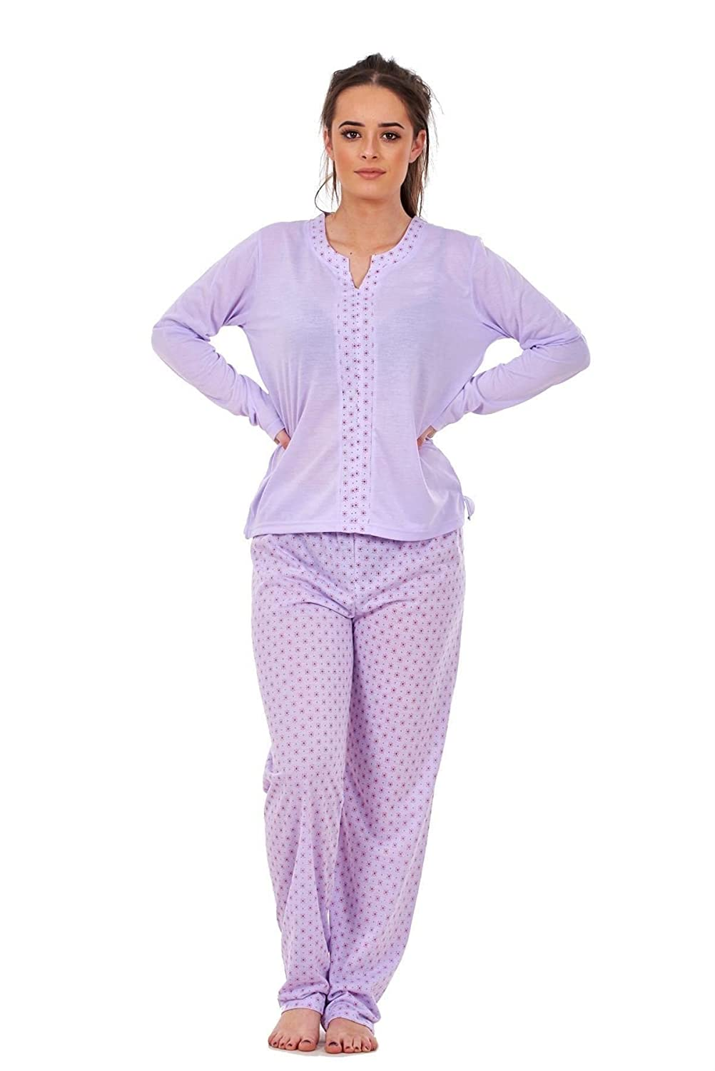 Bay eCom UK Ladies Pyjama Set V Neck Floral Printed Long Sleeve Quality Cotton Nightwear PJS Does not Apply
