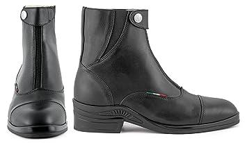 Umbria Equitación Botines de Piel Con Cremallera Delantera Unisex adulto, negro, 35