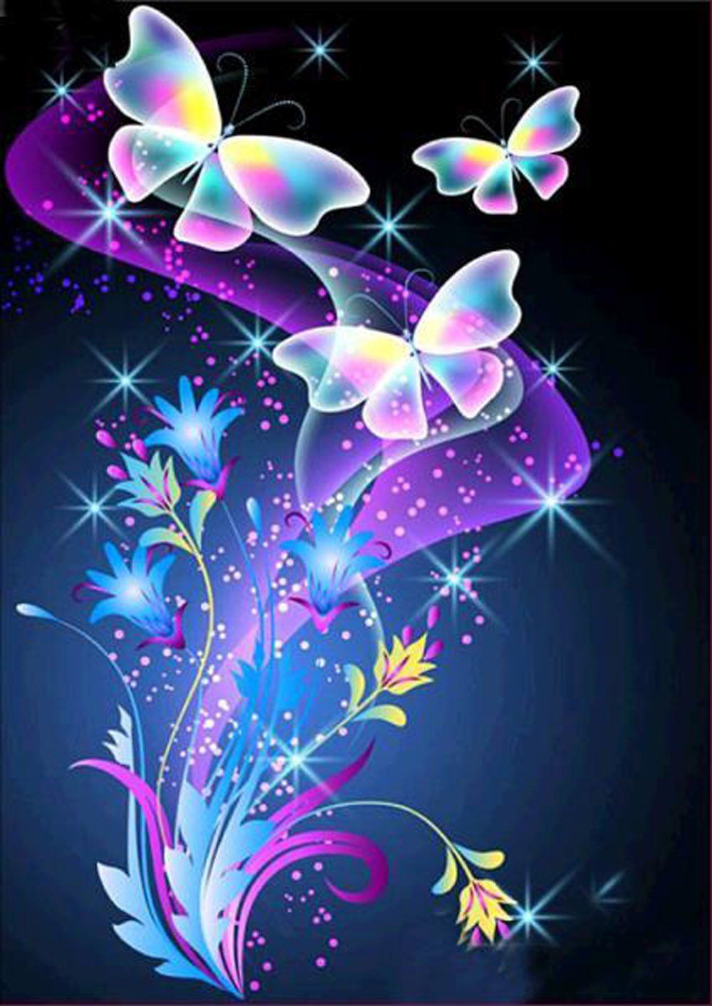 Orcbee  _5D Butterfly Love DIY Diamond Painting Embroidery Cross Craft Stitch Home Decor Art (C)