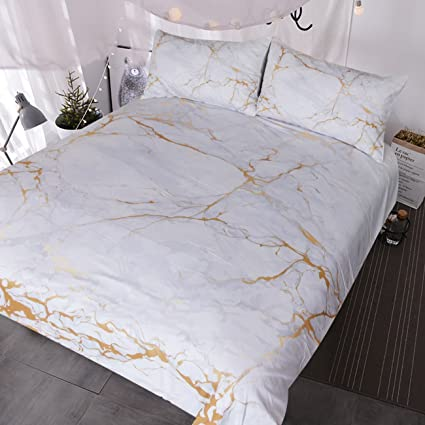 Amazon.com: BlessLiving Gold and Grey Marble Bedding 3 Piece Nature ...