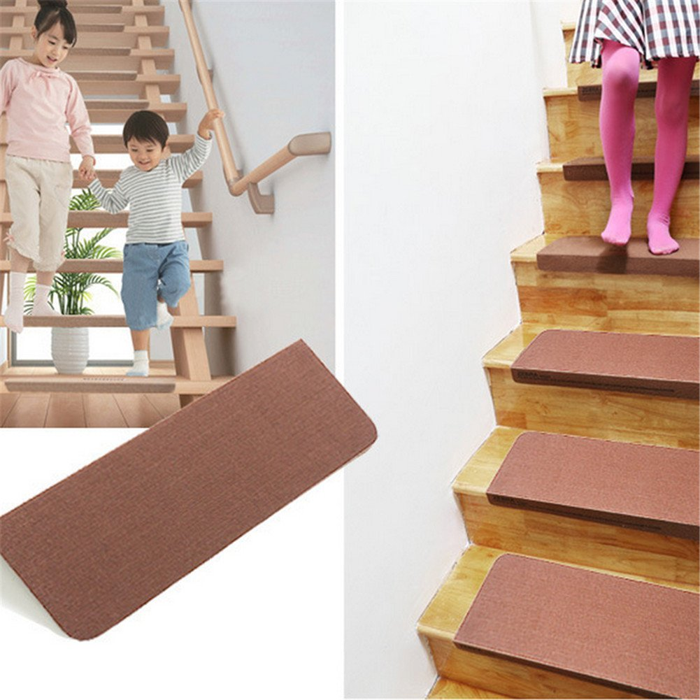 5Pcs Luxury Stair Treads Solid Skid Resistant Rubber Backing Non Slip Carpet Stair Tread Mats Rug Self -adhesive Step Pad for Home Safety by Feileng (Image #2)