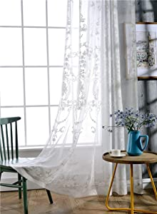 Sheer Curtain Luxurious Pattern Embroidered Rod Pocket Top Breathable Window Decoration for Living Room Bedroom and Office (1 Panel, W 52 x L 102 inch, White Linen Bottom+White Embroidery)