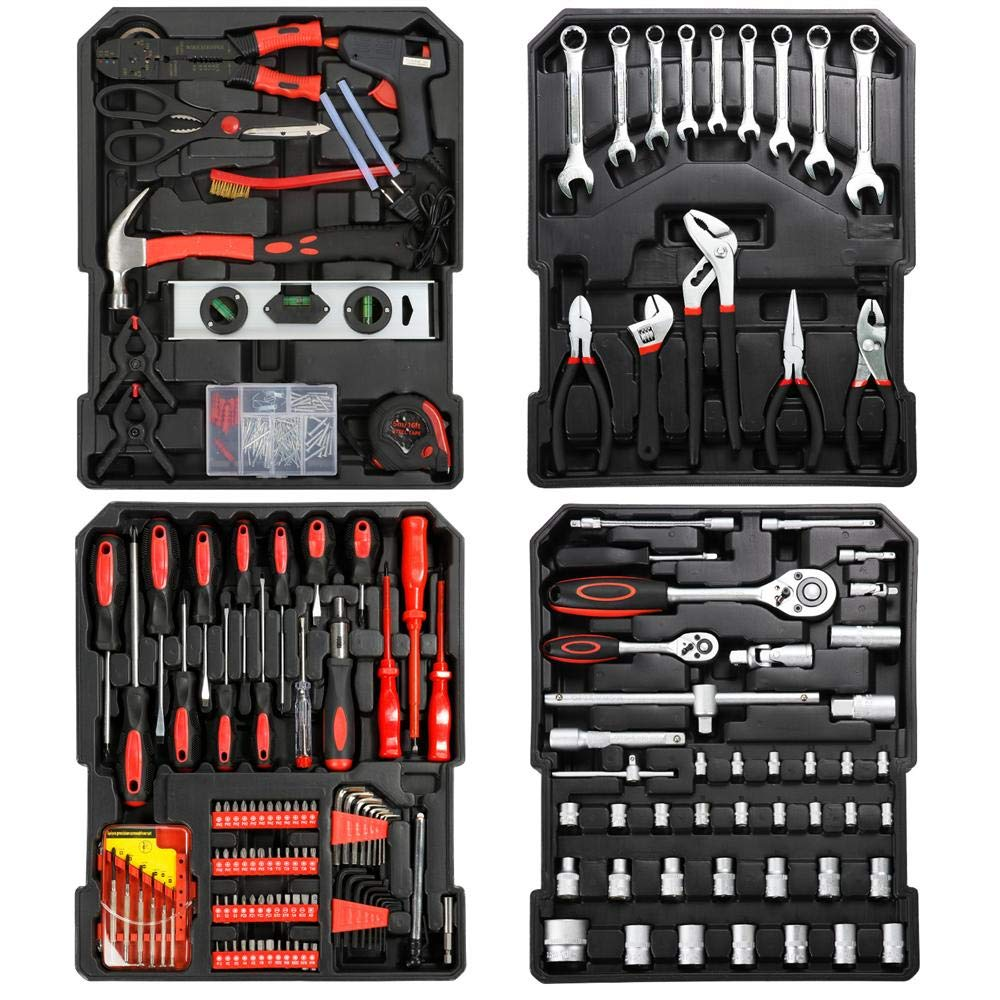 go2buy Tool Box with Tools Mechanic Travel Tool Box Tool Kit Wrenches Socket Aluminum Trolley Tool Box Organizer w/ 1099 Pieces Tools by go2buy (Image #3)