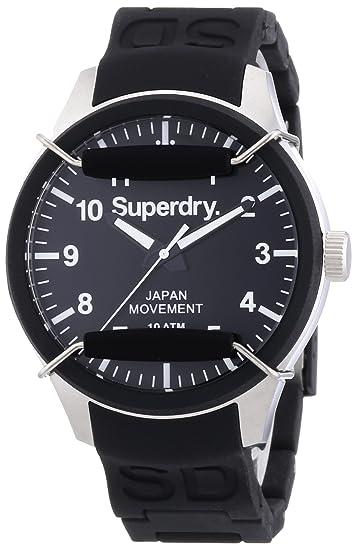 Superdry SYG109B - Reloj analógico de cuarzo para hombre con correa de silicona, color negro