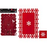 Christmas Place Mats and Coaster Set Snowflake Dinner Table Red Felt Mats 8PC