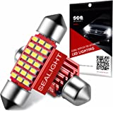 "DE3175/3022/3175/DE3022/DE3021/31mm(1.25"") LED Interior Dome Bulb, Festoon Map License Plate Lights , Canbus Error Free Nonpolarity, SEALIGHT 21 SMD, 6000K Xenon White(Pack of 2)"