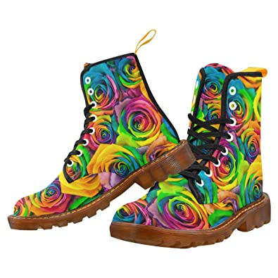 Rainbow rose Print Lace Up Boots For Women