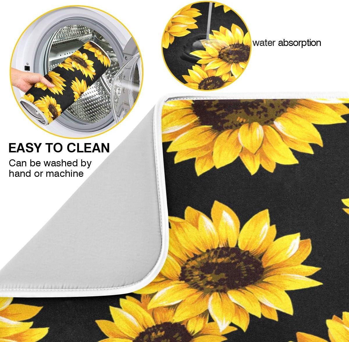 16 X 18 Absorbent Microfiber Drying Pad Dish Mat Sunflower Black Dish Drying Mat for Kitchen
