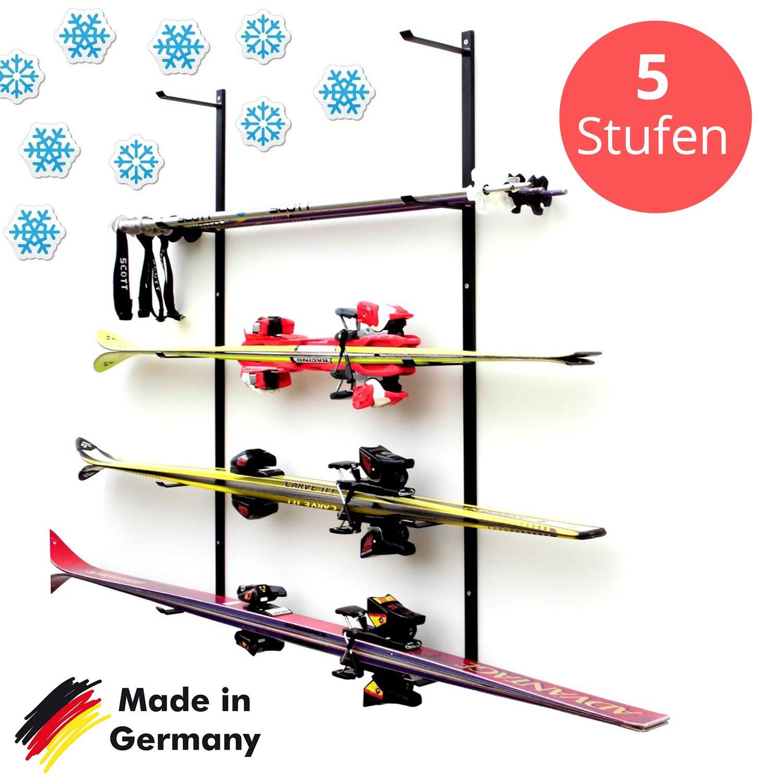 Skihalter | Wandhalterung Premium | 2 bis 5 Ebenen | Beschichtete Skihalterung | Skiaufbewahrung | Richtige Lagerung an der Wand | Ordnungssystem Garage/Keller | Ski-Zubehör | Inkl. Montagematerial