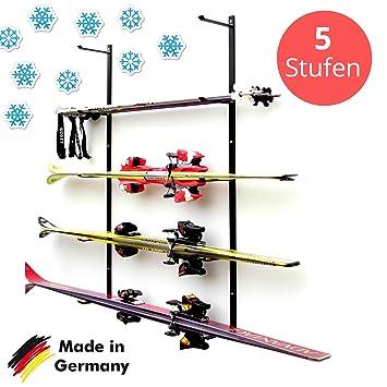 Skihalter | Wandhalterung Premium | 5 Ebenen | Beschichtete Skihalterung |  Skiaufbewahrung | Richtige Lagerung An