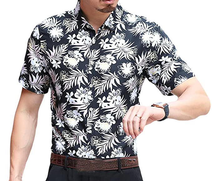 Fensajomon Men Slim Fit Plus Size Floral Printed Summer Short Sleeve