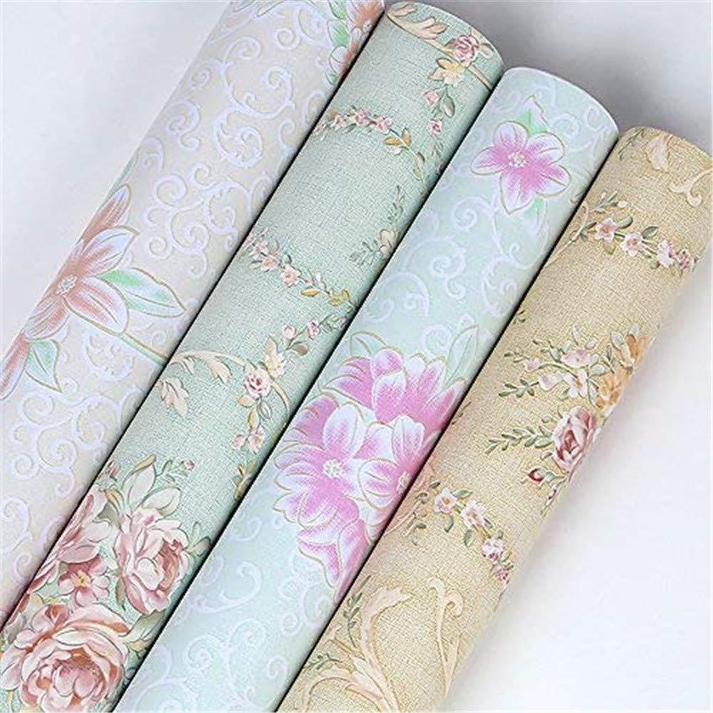 Lvcky Vintage Flower Shelf Liner cassetto Sticker autoadesiva Armadio scrivania Contact Paper Verde-Rose