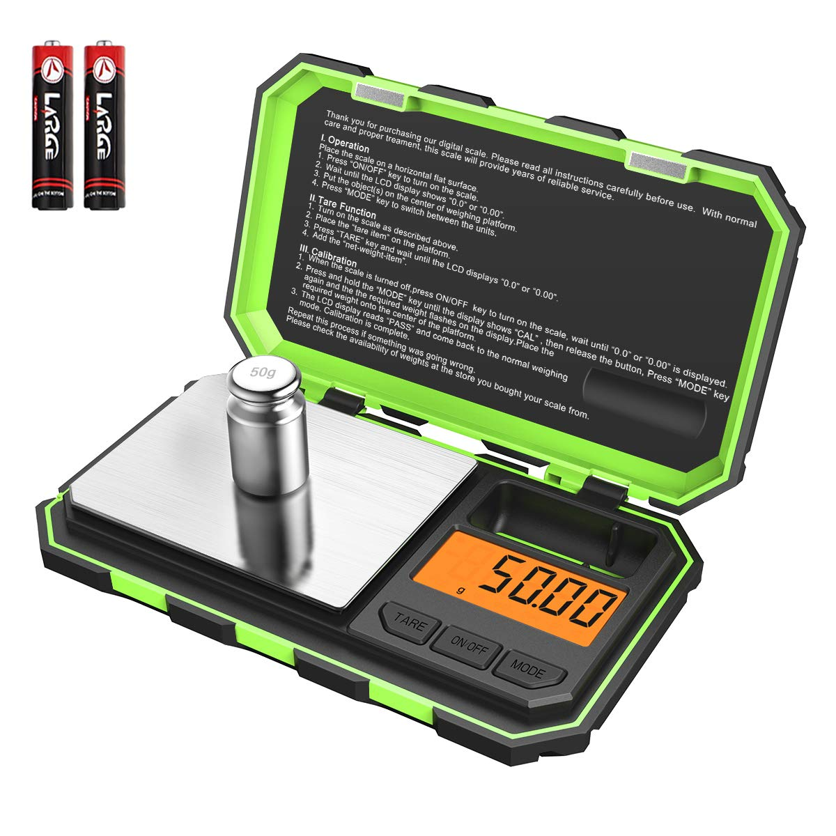 (New Version) Brifit Mini Digital Weighing Scale, 100g-0.01g Pocket Scale, Electronic Smart Scale with 50g calibration weight, Tare & Auto Off Function (Battery Included) 71oVn0vyRqL