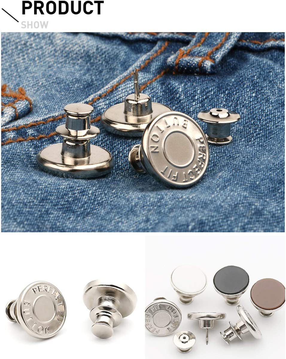 6 Pcs Perfect Buttons Replacement No Sew Needed Style 1 1 Set Perfect Fit Instant Button Adds Or Reduces an Inch to Any Pants Waist in Seconds