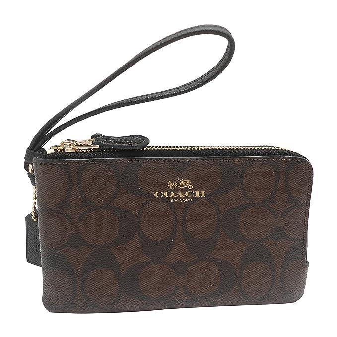 d00d8313c490 ... promo code for amazon coach f66506 corner zip wristlet in signature  brown black clothing fd63f f68b6