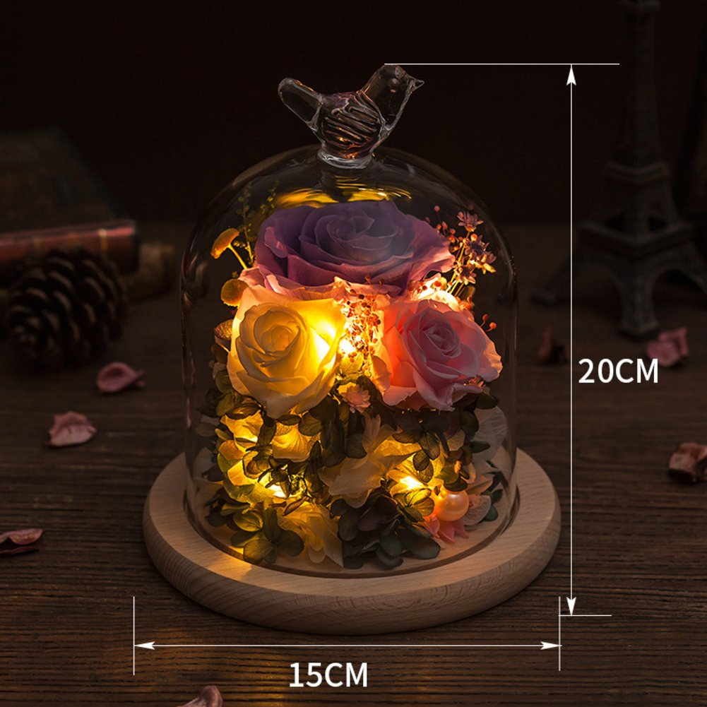 Glass Color Eternity Flower Gift Box/ Giant Rose Flower Ornaments/Creative Flowers-I