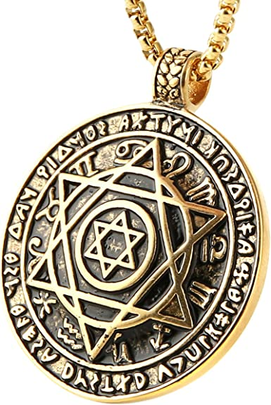HZMAN Talisman Seal Solomon Six-pointed Star 12 Constellation Pendant stainless steel Necklaces 22+2