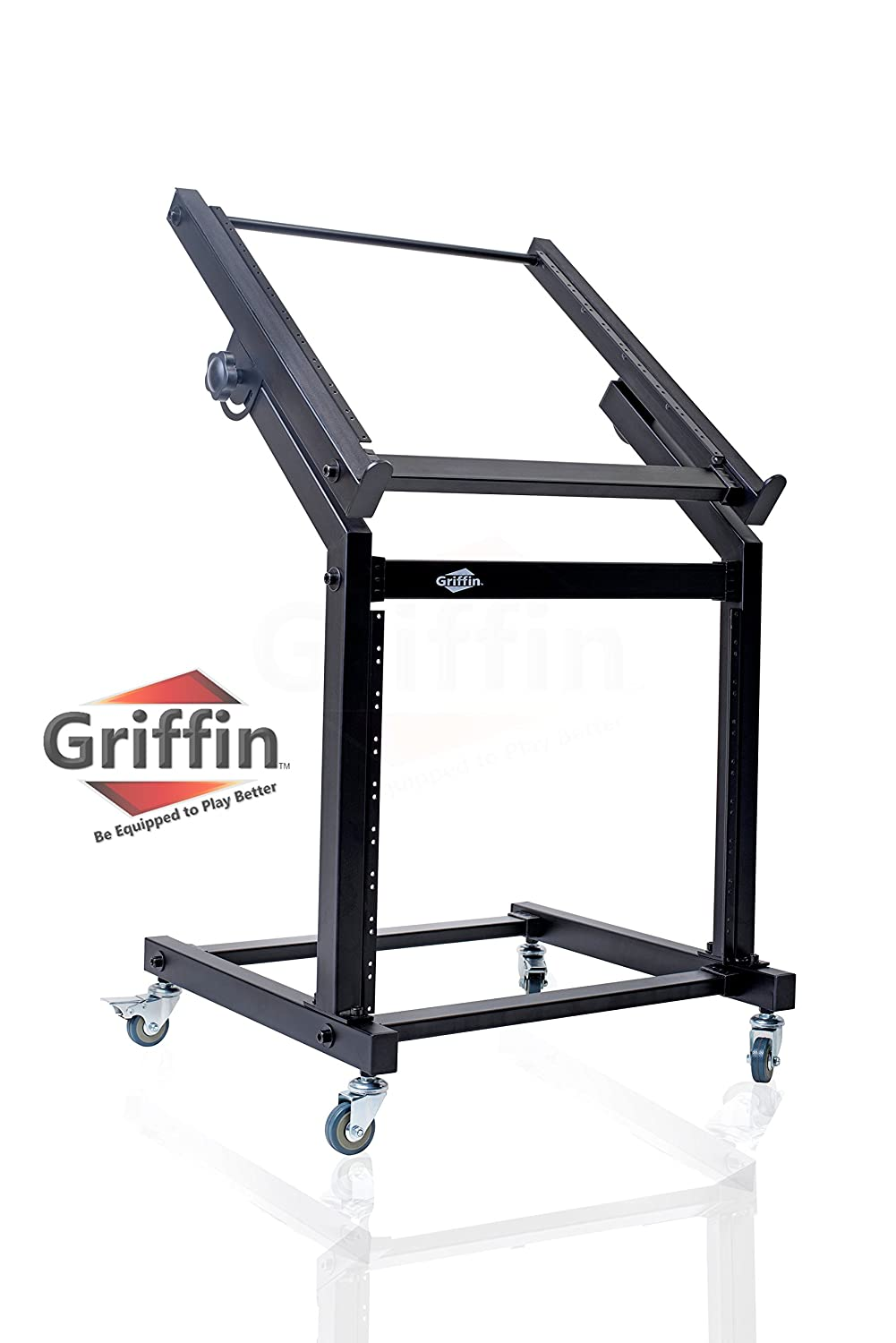 Rack Mount Rolling Stand and Adjustable Top Mixer Platform Mount 19U by Griffin|Cart Holder for Music Studio Pro Audio Recording Cabinet|Stage Equipment DJ PA Gear Display Case for Amplifiers, Effects MD-WS993