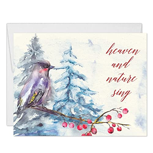 christmas greeting cards envelopes included set of 50 heaven nature sing festive