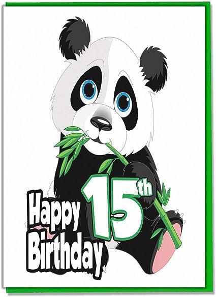 Panda Carte D Anniversaire 15 Ans Pour Adolescents Filles Garcons Fils Petit Fils Fille Petit Fille Amie Amazon Fr Fournitures De Bureau