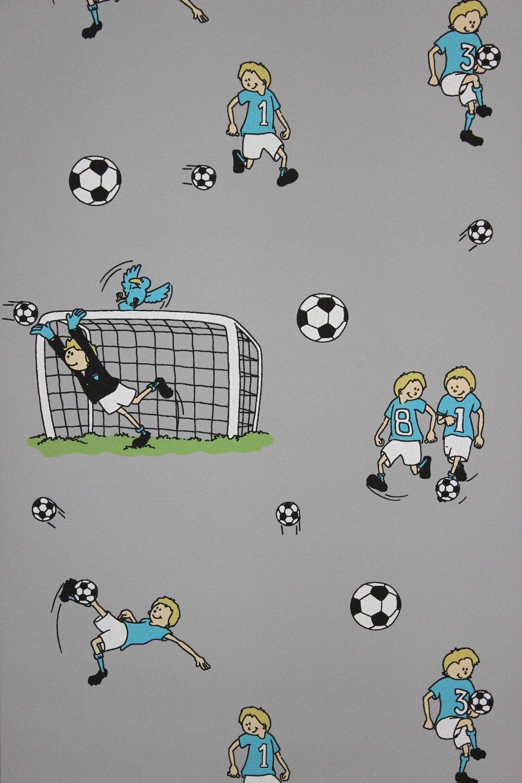Jugendzimmer für jungs fußball  Vlies Tapete Fußball Kinder Jungen Zimmer Fussball Tapete grau ...
