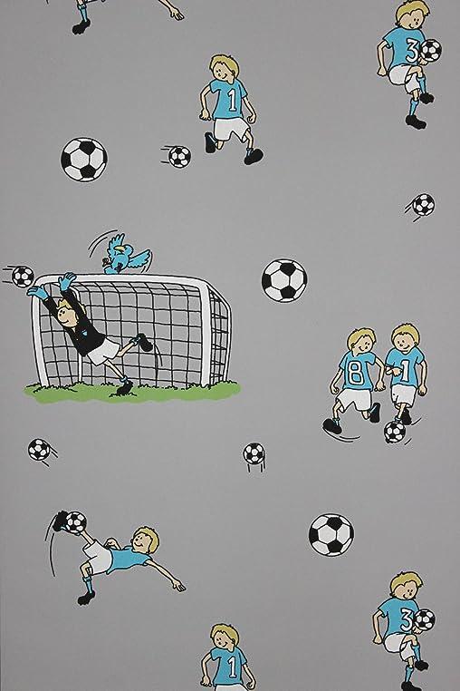 ... Vlies Tapete Fussball Kinder Jungen Zimmer Fussball Tapete Grau ...