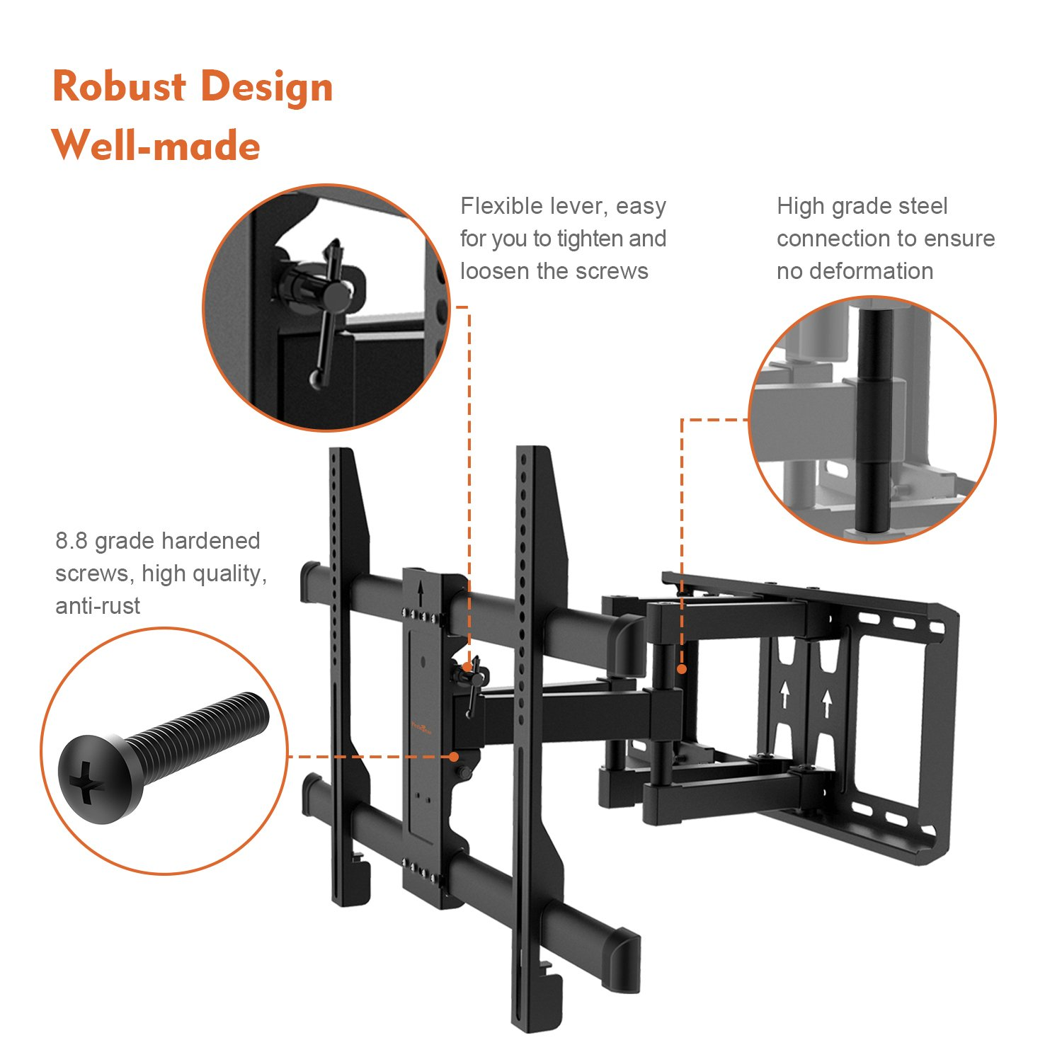 "Perlegear TV Wall Bracket - Extends & Swivels - TV Mount fits 37""-70"" TVs - Holds up to 100lbs, Adjustable Viewing Angle - Bonus 10ft HDMI Cable & Concrete Anchors Plus more"