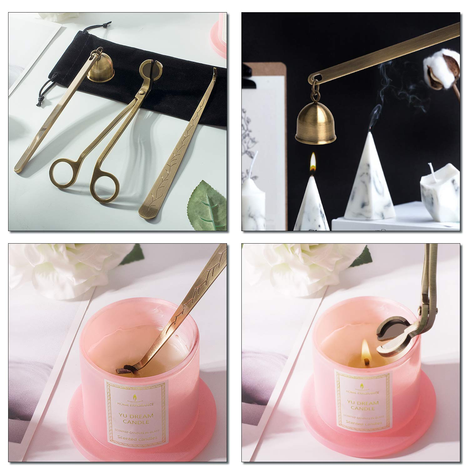DANGSHAN Candle Snuffer Candle Accessory Set, 3 in 1 Candle Wick Trimmer, Candle Wick Dipper, Candle Snuffers (Bronze) by DANGSHAN (Image #7)