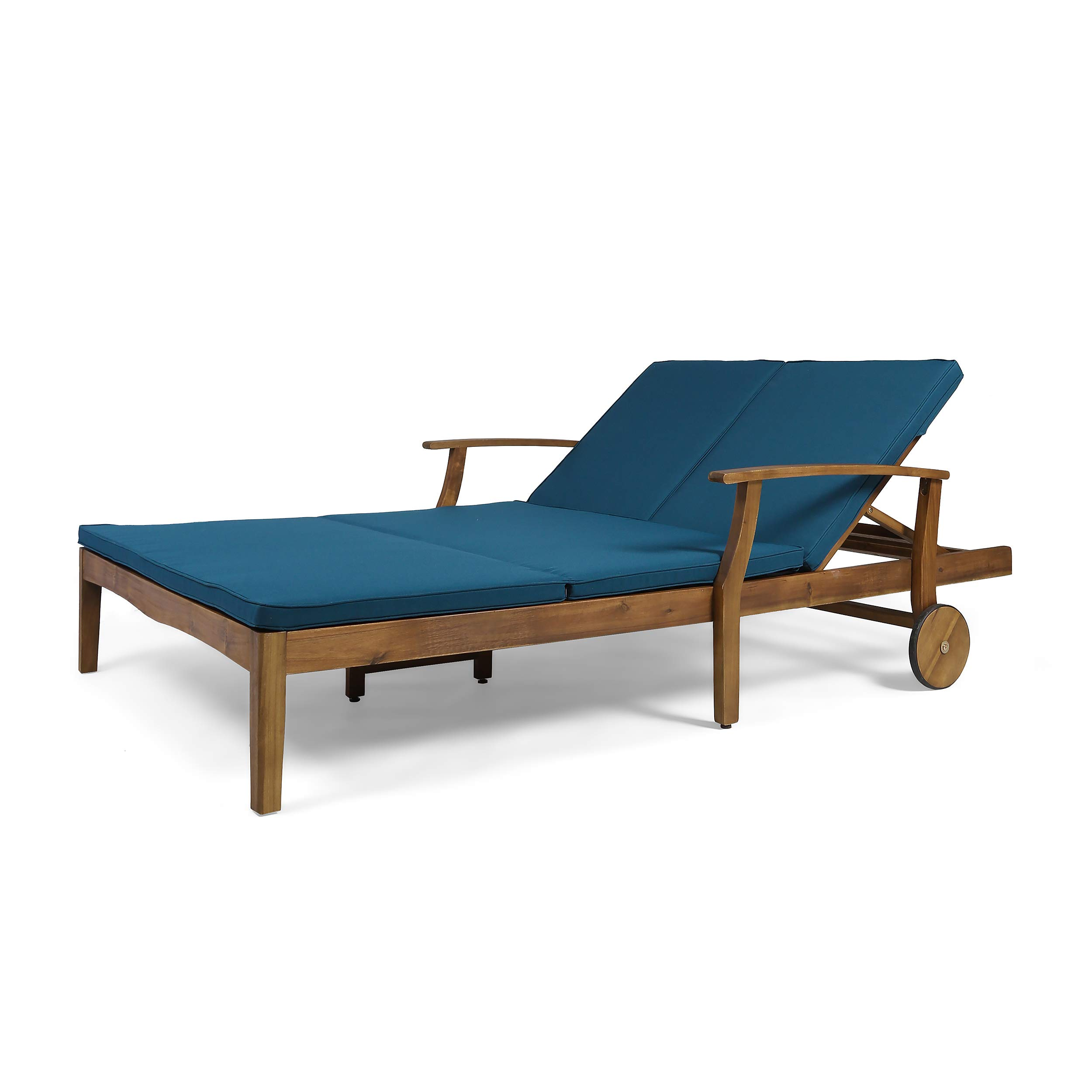 Great Deal Furniture Samantha Double Chaise Lounge for Yard and Patio, Acacia Wood Frame, Teak Finish with Blue Cushions by Great Deal Furniture