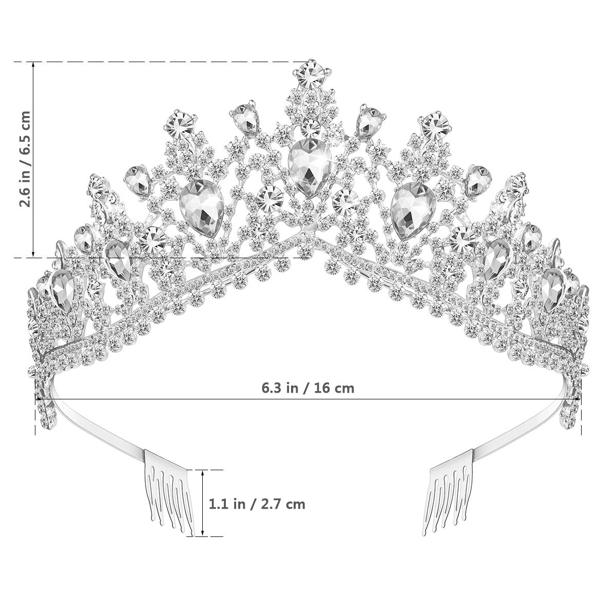 Crystal Crown Tiara, Tiaras and Crowns for Women with Crystal & Side Combs (White)