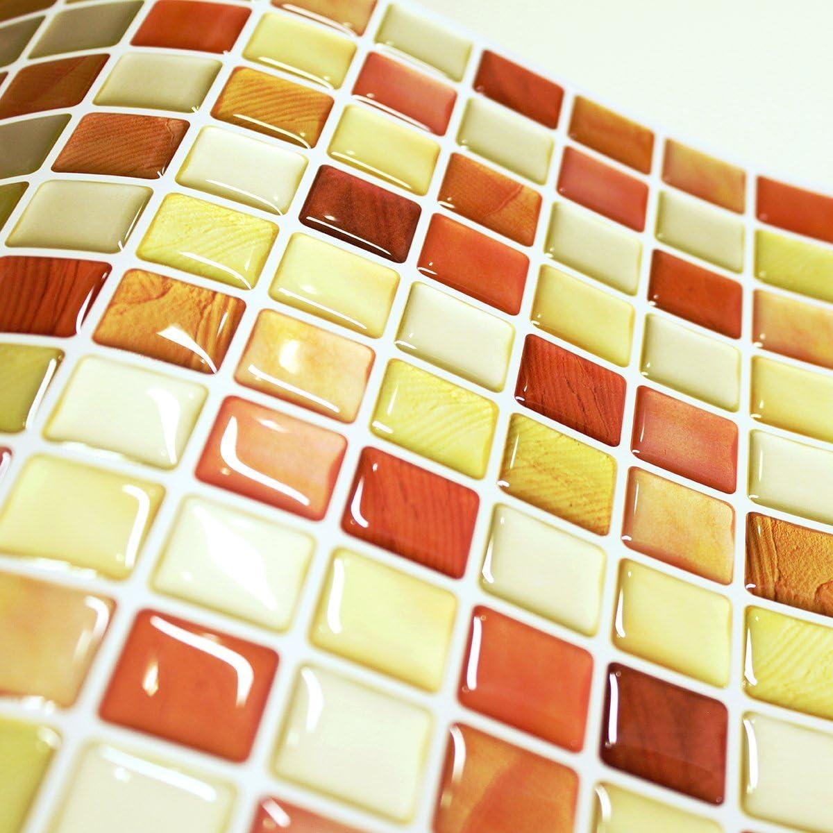 Crack Orange 10, 12.2 x 12.2 BEAUSTILE Decorative Tile Stickers Peel Stick Backsplash Fire Retardant Tile Sheet