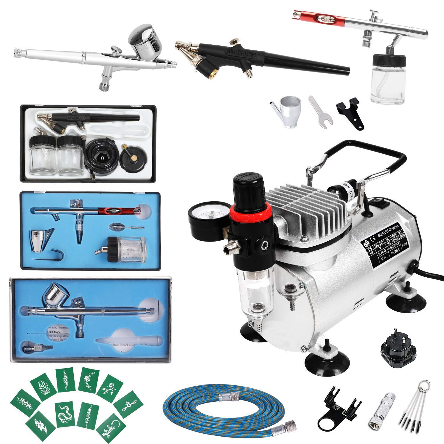 Display4top 1//5 HP Mehrzweck-Airbrush-Kompressor-Kit-System 6 Air Hose /& Airbrush Holder mit 2 Airbrushes: 0.3MMDual Action Gravity Feed 1 Airbrushes: Einfachwirkende 0.8mm Siphon Feed