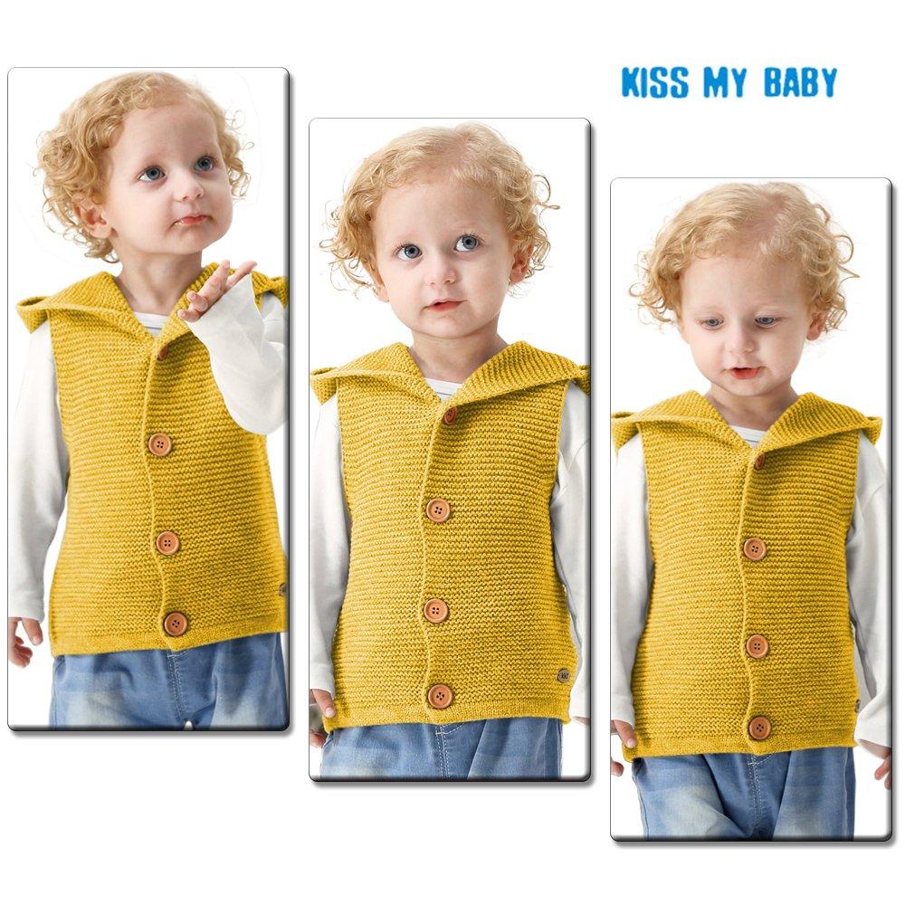febdcac2b mimixiong Baby Knitted Waistcoat Toddler Hooded Sleeveless Cardigan ...