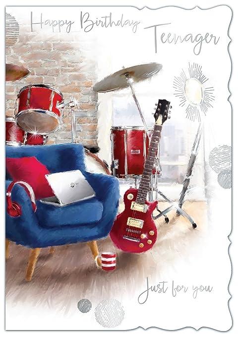 Diseño de chica con dorado 13 A partir de cumpleaños con texto en inglés - guitarra roja, ...