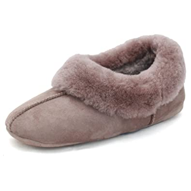 9d7993ffa3d Ladies Deluxe Sheepskin Heeled Split Seam Slipper - Mink: Amazon.co ...
