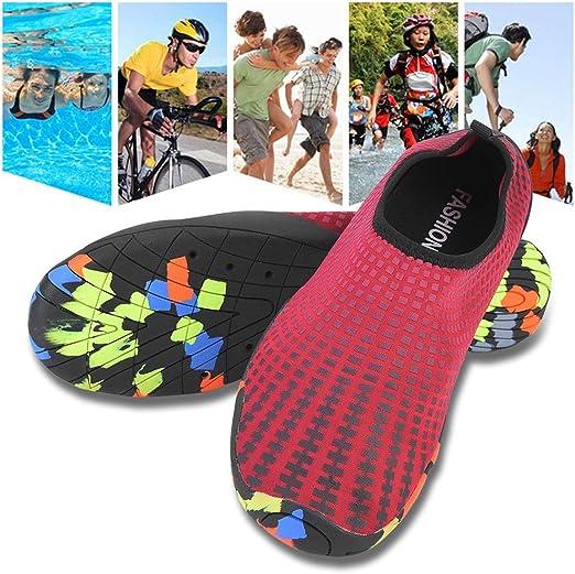 DIMPLEYA Playa de la Piscina de Agua Calcetines de Deporte Hombres Mujeres Que vadean los Zapatos Suaves Antideslizantes Surf nataci/ón Zapatos Pesca Submarinismo Deporte