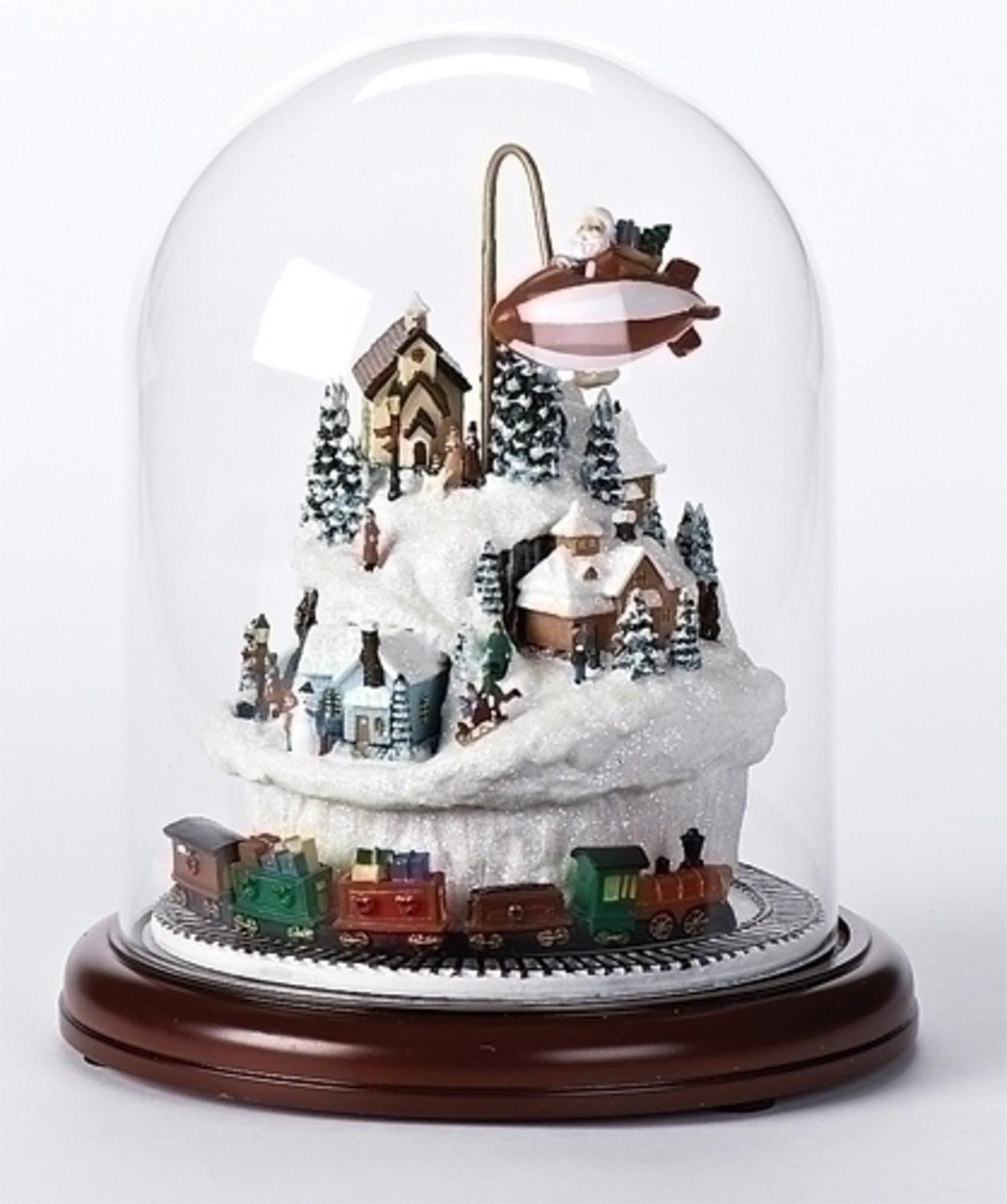 amazoncom 9 lighted musical village scene with rotating train christmas dome decoration kitchen dining - Lighted Train Christmas Decoration