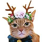 Alien Pet 犬 猫 ヘアアクセサリー ペット用かつら かぶりもの コスチューム キャップ 被り物 可愛い服 着ぐるみ コスプレ 変装 帽子 髪飾り トリミングリボン 可愛い プレゼント/撮影/パーティー/誕生日/撮影/ハローイン/クリスマス/イベント  (鹿の角と花, S)