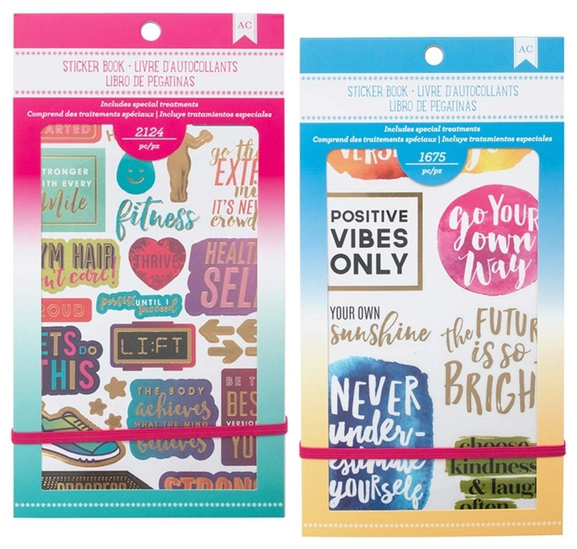 3700 Fitness and Productivity Stickers | Sticker Set with Motivational Quote and Positive Affirmations | for Bullet Journaling, Planner, Scrapbooking, Fitness and Diet Goal Journal | Set of 2 Packs