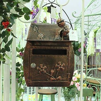 Amazon Co Jp European Classic Villa Box Garden Antique Wall Lock Mailbox Mailbox Waterproof Outdoor Mailbox Antique Copper Color Outdoor Security Mailbox Diy Tools Garden