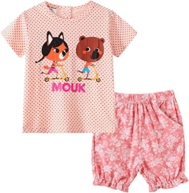 FAMOORE Toddler Bebé Pijamas Bebé Niñas Letra dibujo animado ...